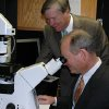 Stephen Prescott, M.D., president of the Oklahoma Medical Research Foundation on Wednesday gives Oklahoma City Mayor Mick Cornett a tour of the foundation. In this photo, Cornett looks through a microscope in OMRF's imaging facility. Community Photo By: Jenny Lee Submitted By: Michael, Oklahoma City