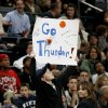 Fans cheer during the NBA basketball game between the Oklahoma City Thunder and the New Orleans Hornets at the Ford Center in Oklahoma City on Friday, Nov. 21, 2008. BY BRYAN TERRY, THE OKLAHOMAN