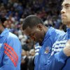 Oklahoma City\'s Nazr Mohammed (8), Kendrick Perkins (5) and Nick Collison (4) pray during the NBA basketball game between the Miami Heat and the Oklahoma City Thunder at Chesapeake Energy Arena in Oklahoma City, Sunday, March 25, 2012. Photo by Sarah Phipps The Oklahoman