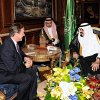 Photo -   In this photo releases by the Saudi Press Agency, British Prime Minister David Cameron, left, meets with Saudi Arabia's King Abdullah, right, in Jiddah, Saudi Arabia, Tuesday, Nov. 6, 2012. British Prime Minister David Cameron suggested Tuesday that Syria's president Bashar Assad could be allowed safe passage out of the country if that option would guarantee an end to the nation's civil war. (AP Photo/Saudi Press Agency)