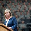 Oklahoma Governor Mary Fallin speaks during a deployment ceremony for members of the 45th Infantry Brigade Combat Team at The OKC Arena in Oklahoma City on Wednesday, Feb. 16, 2011. Photo by John Clanton, The Oklahoman