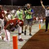 OU\'s Sterling Shepard (3) kneels down after scoring a touchdown during the college football game between the University of Oklahoma Sooners (OU) and the Kansas Jayhawks (KU) at Gaylord Family-Oklahoma Memorial Stadium in Norman, Okla., Saturday, Oct. 20, 2012. Photo by Bryan Terry, The Oklahoman