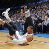 Oklahoma City\'s Russell Westbrook (0) reacts after being fouled on a shot during the NBA basketball game between the Oklahoma City Thunder and the Dallas Mavericks at Chesapeake Energy Arena in Oklahoma City, Okla. on Wednesday, Nov. 6, 2013. Photo by Chris Landsberger, The Oklahoman