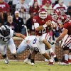 Oklahoma\'s Blake Bell (10) carries during a college football game between the University of Oklahoma Sooners (OU) and the TCU Horned Frogs at Gaylord Family-Oklahoma Memorial Stadium in Norman, Okla., on Saturday, Oct. 5, 2013. Photo by Steve Sisney, The Oklahoman