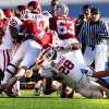Keenan Clayton (22) and Travis Lewis (28) combine to stop Toby Gerhart on Stanford\'s last scoring threat during the 31-27 victory at the Brut Sun Bowl college football game between the University of Oklahoma Sooners (OU) and the Stanford University Cardinal on Thursday, Dec. 31, 2009, in El Paso, Tex. Photo by Steve Sisney, The Oklahoman