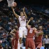 Stanford\'s Josh Huestis puts up a shot against Washington State in the first half of an NCAA Pac-12 conference tournament college basketball game, Wednesday, March 12, 2014, in Las Vegas. (AP Photo/Julie Jacobson)
