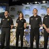 Photo - Drivers from Stewart-Haas racing, from left, Tony Stewart, Danica Patrick, Kevin Harvick and Kurt Busch, pose for a photo during a news conference at the NASCAR Sprint Cup auto racing Media Tour in Charlotte, N.C., Monday, Jan. 27, 2014. (AP Photo/Chuck Burton)
