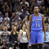 Oklahoma City\'s Kevin Durant (35) reacts during Game 5 of the Western Conference Finals in the NBA playoffs between the Oklahoma City Thunder and the San Antonio Spurs at the AT&T Center in San Antonio, Thursday, May 29, 2014. Photo by Sarah Phipps, The Oklahoman