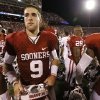 Oklahoma\'s Trevor Knight (9) shakes hands with Warhawks players following the college football game where the University of Oklahoma Sooners (OU) play the University of Louisiana Monroe Warhawks at Gaylord Family-Oklahoma Memorial Stadium in Norman, Okla., on Saturday, Aug. 31, 2013. Photo by Steve Sisney, The Oklahoman