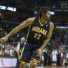 Photo - Indiana Pacers' Chris Copeland sinks the game-winning shot against the Milwaukee Bucks during the second half of an NBA basketball game on Wednesday, April 9, 2014, in Milwaukee. The Pacers defeated the Bucks 104-102. (AP Photo/Tom Lynn)