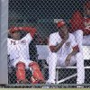 Photo - From left to right, Cincinnati Reds' Sam LeCure, Nilson Antigua, Aroldis Chapman and Logan Ondrusek sit in the bullpen in the fourth inning of a baseball game against the Colorado Rockies, Saturday, May 10, 2014, in Cincinnati. Chapman was activated early Saturday morning. (AP Photo/Al Behrman)