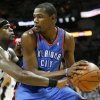 Oklahoma City\'s Kevin Durant (35) tries to get past San Antonio\'s Stephen Jackson (3) during Game 5 of the Western Conference Finals between the Oklahoma City Thunder and the San Antonio Spurs in the NBA basketball playoffs at the AT&T Center in San Antonio, Monday, June 4, 2012. Photo by Nate Billings, The Oklahoman