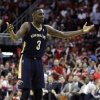 New Orleans Pelicans\' Anthony Morrow argues a foul call during the fourth quarter of an NBA basketball game against the Houston Rockets, Saturday, April 12, 2014, in Houston. The Rockets defeated the Pelicans 111-104. (AP Photo/Patric Schneider)