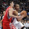 Oklahoma City \'s Russell Westbrook (0) drives past Houston\'s Jeremy Lin (7) during the NBA basketball game between the Houston Rockets and the Oklahoma City Thunder at the Chesapeake Energy Arena on Wednesday, Nov. 28, 2012, in Oklahoma City, Okla. Photo by Chris Landsberger, The Oklahoman