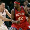 Oklahoma City\'s Nick Collison guards Philadelphia\'s Elton Brand during the second half of their NBA basketball game at the Ford Center in Oklahoma City on Tuesday, Dec. 2, 2009. The Thunder beat the 76ers 117 to 106. By John Clanton, The Oklahoman