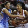 Maryland\'s Alyssa Thomas, right, drives to the basket as North Carolina\'s Krista Gross defends during the second half of an NCAA college basketball game on Thursday, Jan. 24, 2013, in College Park, Md. Maryland won 85-59. (AP Photo/Gail Burton).