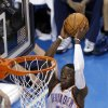 Oklahoma City\'s Reggie Jackson (15) dunks the ball during Game 7 in the first round of the NBA playoffs between the Oklahoma City Thunder and the Memphis Grizzlies at Chesapeake Energy Arena in Oklahoma City, Saturday, May 3, 2014. Photo by Sarah Phipps, The Oklahoman