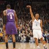 REACTION: Russell Westbrook (0) reacts after hitting a three-point shot in front of Phoenix\'s Amar\'e Stoudemire (1) during the first half of the NBA basketball game between the Oklahoma City Thunder and the Phoenix Suns at the Ford Center on Monday, Dec. 29, 2008, in Oklahoma City, Okla. Photo by CHRIS LANDSBERGER, THE OKLAHOMAN ORG XMIT: KOD