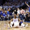 Oklahoma City\'s Kevin Durant (35) sits on the court after making a basket and being fouled in the fourth quarter during Game 4 of the Western Conference Finals between the Oklahoma City Thunder and the San Antonio Spurs in the NBA playoffs at the Chesapeake Energy Arena in Oklahoma City, Saturday, June 2, 2012. Oklahoma City won, 109-103. Photo by Nate Billings, The Oklahoman