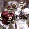 Saturday, September 6, 2003. OU: The University of Oklahoma against Alabama college football game at Bryant-Denny Stadium in Tuscaloosa, Alabama. Brandon Jones catches a touchdown pass in front of Anthony Madison of Alabama in the third quarter. Staff photo by Bryan Terry