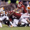 Sooner Corey Nelson (7) stops Eddie Rocker (9) during the second half of the college football game between the University of Oklahoma Sooners (OU) and Florida A&M Rattlers at Gaylord Family—Oklahoma Memorial Stadium in Norman, Okla., Saturday, Sept. 8, 2012. Photo by Steve Sisney, The Oklahoman