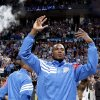 Oklahoma City\'s Serge Ibaka (9) celebrates before the NBA basketball game between the Miami Heat and the Oklahoma City Thunder at Chesapeake Energy Arena in Oklahoma City, Sunday, March 25, 2012. Photo by Sarah Phipps The Oklahoman