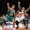Photo - Boston Celtics center Kris Humphries (43) defends New York Knicks guard Raymond Felton (2) in the first half of an NBA basketball game at Madison Square Garden in New York, Tuesday, Jan. 28, 2014.  (AP Photo/Kathy Willens)