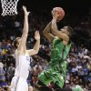 Oregon\'s Dominic Artis shoots against UCLA\'s David Wear in the first half of the NCAA college basketball game in the Pac-12 Conference tournament Saturday, March 16, 2013, in Las Vegas. (AP Photo/Julie Jacobson) ORG XMIT: NVJJ125