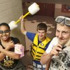 Students came to school on Wednesday, March 14, 2012, dressed to the theme of water sports as part of activities during SWAG week at Carl Albert High School. The students are raising money to be given to a designated charity. From left are Lashaina Washington, freshman; Cody Moore, senior, and Dustin Blasingame, sophomore. Photo by Jim Beckel, The Oklahoman