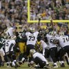 New Orleans Saints\' Garrett Hartley (5) misses a field goal against the Green Bay Packers during the fourth quarter of an NFL football game Sunday, Sept. 30, 2012, in Green Bay, Wis. Green Bay won 28-27. (AP Photo/Jeffrey Phelps)