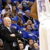 Denver\'s Head Coach George Karl watches Oklahoma City\'s Kevin Durant during the first round NBA Playoff basketball game between the Thunder and the Nuggets at OKC Arena in downtown Oklahoma City on Wednesday, April 20, 2011. Photo by John Clanton, The Oklahoman