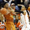Oklahoma State\'s Tiffany Bias (3) pressures Texas\' Empress Davenport (1) during a women\'s college basketball game between Oklahoma State University (OSU) and the University of Texas at Gallagher-Iba Arena in Stillwater, Okla., Saturday, March 2, 2013. Photo by Nate Billings, The Oklahoman