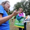 Photo -   Cynthia Walter, from the Sierra Club, and other participants rallied and signed petitions in Schenley Park during a rally against Shale gas drilling in Pittsburgh, Saturday, Sept. 22, 2012. (AP Photo/John Heller)