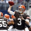 Cleveland Browns\' Brandon Weeden (3) passes as Alex Mack (55) works against pressure from the Dallas Cowboys defense in the first half of an NFL football game on Sunday, Nov. 18, 2012, in Arlington, Texas. (AP Photo/Sharon Ellman)