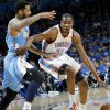 Oklahoma City\'s Kevin Durant tries to get around Denver\'s Wilson Chandler during the first round NBA Playoff basketball game between the Thunder and the Nuggets at OKC Arena in downtown Oklahoma City on Wednesday, April 20, 2011. The Thunder beat the Nuggets 106-89 and lead the series 2-0. Photo by John Clanton, The Oklahoman