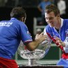 Czech Republic\'s Radek Stepanek, left, and Tomas Berdych, right, celebrate with the trophy after defeating Spain in their Davis Cup finals tennis match in Prague, Czech Republic, Sunday, Nov. 18, 2012. Czech Republic defeated Spain 3-2 and gained the Davis Cup trophy. (AP Photo/Petr David Josek)