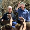 Tornado damage tour: President Bill Clinton waves to the crowd as Gov. Frank Keating introduces him.