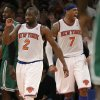 New York Knicks guard Raymond Felton (2) and forward Carmelo Anthony (7) celebrate in the fourth quarter of their 85-78 victory over the Boston Celtics in Game 1 of the NBA basketball playoffs in New York, Saturday, April 20, 2013. (AP Photo/Kathy Willens)