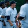 Jackson State pitcher Alexander Juday, center, reacts after getting his team out of the eighth inning during an NCAA college baseball tournament regional game against Louisiana-Lafayette in Lafayette, La., Friday, May 30, 2014. Jackson State won 1-0. (AP Photo/Jonathan Bachman)