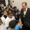 Mayor Mick Cornett is greeted by students from Western Village Academy during morning exercises at their school in Oklahoma City, OK, Thursday, Nov. 20, 2008. BY PAUL HELLSTERN, THE OKLAHOMAN ORG XMIT: KOD
