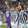Photo - Juventus' Andrea Pirlo celebrates after scoring during an Europa League, round of 16, return-leg soccer match between Fiorentina and Juventus, at the Artemio Franchi stadium in Florence, Italy, Thursday, March 20,, 2014. (AP Photo/Massimo Pinca)