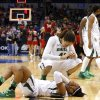 Baylo\'s Brittney Griner (42) and Odyssey Sims (0) react after losing to Louisville following the college basketball game between Baylor University and the Louisville at the Oklahoma City Regional for the NCAA women\'s college basketball tournament at Chesapeake Energy Arena in Oklahoma City, Sunday, March 31, 2013. Photo by Sarah Phipps, The Oklahoman