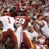 OU\'s DeMarco Murray scores a touchdown during the first half of the college football game between the University of Oklahoma Sooners (OU) and the Iowa State Cyclones (ISU) at the Glaylord Family-Oklahoma Memorial Stadium on Saturday, Oct. 16, 2010, in Norman, Okla. Photo by Bryan Terry, The Oklahoman