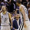 San Antonio Spurs\' Tony Parker (9), of France, reacts after hitting a buzzer-beating basket to end the fourth quarter of an NBA basketball game against the Oklahoma City Thunder, Thursday, Nov. 1, 2012, in San Antonio. San Antonio won 86-84. Spurs\' Tim Duncan, center, walks to Parker as Oklahoma City\'s Serge Ibaka, right, walks off the court. (AP Photo/Eric Gay) ORG XMIT: TXEG114
