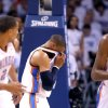 Oklahoma City\'s Russell Westbrook (0) reacts after taking fall during game five of the Western Conference semifinals between the Memphis Grizzlies and the Oklahoma City Thunder in the NBA basketball playoffs at Oklahoma City Arena in Oklahoma City, Wednesday, May 11, 2011. Photo by Sarah Phipps, The Oklahoman