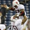 Stanford\'s Barry Sanders is lifted up by Joshua Garnett after Sanders 22-yard touchdown run against Washington State in the second half of an NCAA college football game Saturday, Sept. 28, 2013, in Seattle. Stanford won 55-17. (AP Photo/Elaine Thompson) ORG XMIT: WAET119