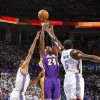 Los Angeles\' Kobe Bryant shoots the ball over Oklahoma City\'s Thabo Sefolosha and Kendrick Perkins during Game 2 in the second round of the NBA playoffs between the Oklahoma City Thunder and the L.A. Lakers at Chesapeake Energy Arena on Wednesday, May 16, 2012, in Oklahoma City, Oklahoma. Photo by Chris Landsberger, The Oklahoman