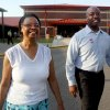 Photo - Sen. Tim Scott, right, and his mother, Frances Scott, leave after voting in the primary on Tuesday morning, June 10, 2014, at Goose Creek Primary School in Goose Creek, S.C. (AP Photo/The Post and Courier, Leroy Burnell)