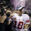 New York Giants quarterback Eli Manning reacts after his team\'s 21-17 win over the New England Patriots in the NFL Super Bowl XLVI football game, Sunday, Feb. 5, 2012, in Indianapolis. (AP Photo/Eric Gay) ORG XMIT: SB529