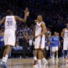 Oklahoma City\'s Russell Westbrook (0) and Kevin Durant (35) celebrate after Westbrook hit a basket in the final seconds of the NBA basketball game between the Denver Nuggets and the Oklahoma City Thunder in the first round of the NBA playoffs at the Oklahoma City Arena, Sunday, April 17, 2011. Photo by Bryan Terry, The Oklahoman